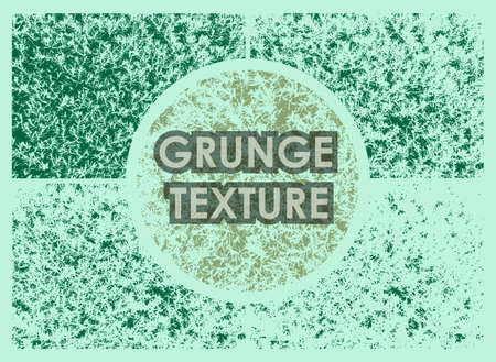 set of evergreen juniper grunge textures with different number of spots on transparent background. Texture of old poster background. Vector