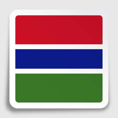 Gambia flag icon on paper square sticker with shadow. Button for mobile application or web. Vector