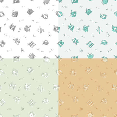 set of seamless patterns with doodle linear icons. Geography, globe, calculator, university, chemistry, bus, geometry. Ornament for decoration and printing on fabric. Design element. Vector