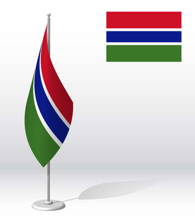 GAMBIA flag on flagpole for registration of solemn event, meeting foreign guests. National independence day of GAMBIA. Realistic 3D vector on white