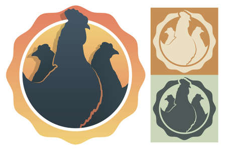 Silhouettes of rooster and chickens inside circle. Embelm, badge for farm or organic chicken plant. Farm bird. Vector isolated on white background
