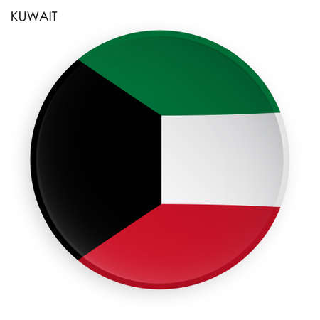 KUWAIT flag icon in modern neomorphism style. Button for mobile application or web. Vector on white background