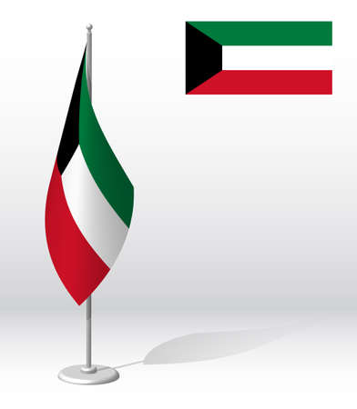 KUWAIT flag on flagpole for registration of solemn event, meeting foreign guests. National independence day of KUWAIT. Realistic 3D vector on white