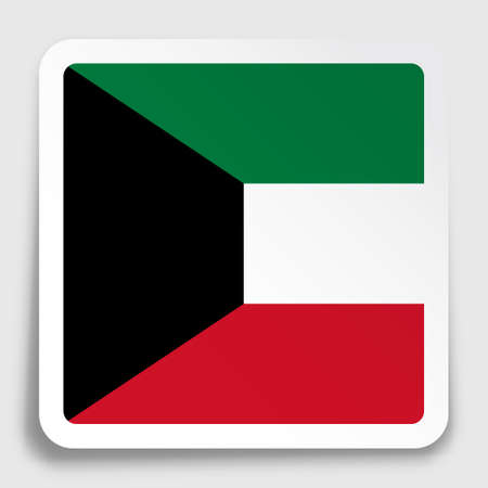 Kuwait flag icon on paper square sticker with shadow. Button for mobile application or web. Vector Ilustrace
