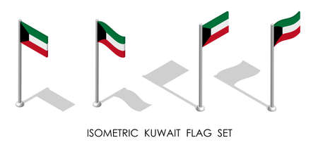 isometric flag of KUWAIT in static position and in motion on flagpole. 3d vector Ilustrace
