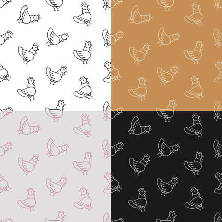 set of seamless patterns with Home chicken icon. Farm bird laying eggs. Ornament for decoration and printing on fabric. Design element. Vector