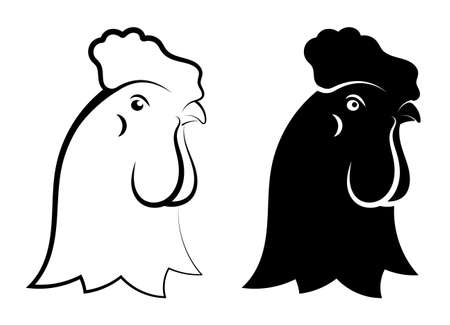 Schematic Linear symbol. Head of rooster male. Farm bird. Simple black and white vector isolated on white background Ilustrace