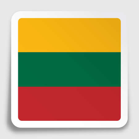 lithuania flag icon on paper square sticker with shadow. Button for mobile application or web. Vector