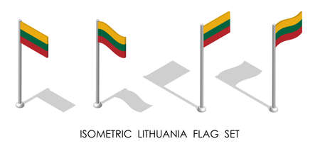 isometric flag of LITHUANIA in static position and in motion on flagpole. 3d vector