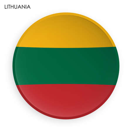 LITHUANIA flag icon in modern neomorphism style. Button for mobile application or web. Vector on white background