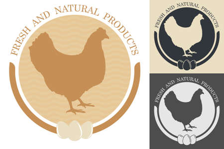 Silhouette of chicken inside circle. Embelm, badge for farm or organic chicken meat. Farm bird. Vector isolated on white background