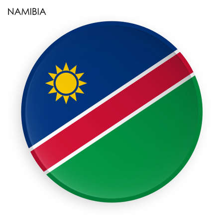 NAMIBIA flag icon in modern neomorphism style. Button for mobile application or web. Vector on white background Ilustrace