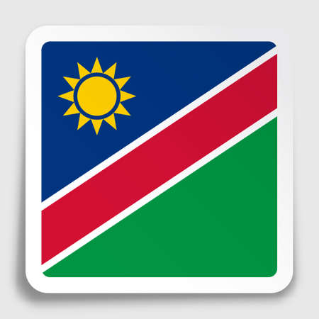 NAMIBIA flag icon on paper square sticker with shadow. Button for mobile application or web. Vector