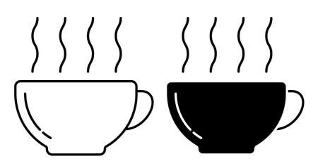Linear icon. Coffee cup with hot drink and steam. Morning invigorating tea for good mood. Simple black and white vector isolated on white background