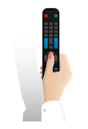 realistic female hand holds TV remote control and presses the button with her thumb. Remote control of digital devices. Realistic vector on white background Ilustrace