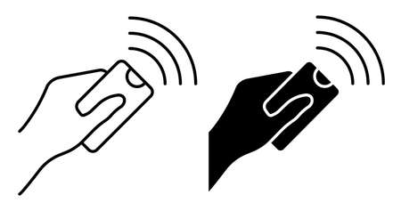 Linear icon. Hand holds the TV control panel and presses the button with thumb. Remote control of digital devices. Simple black and white vector isolated on white background