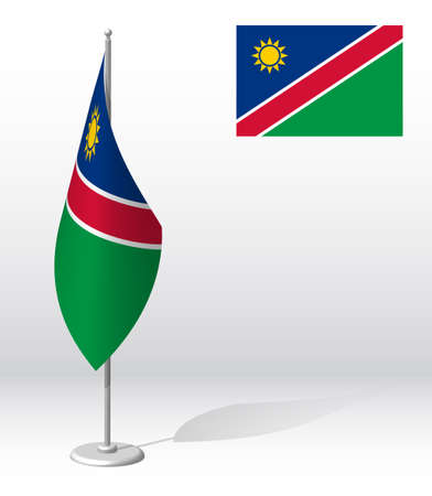 NAMIBIA flag on flagpole for registration of solemn event, meeting foreign guests. National independence day of NAMIBIA. Realistic 3D vector on white Ilustrace