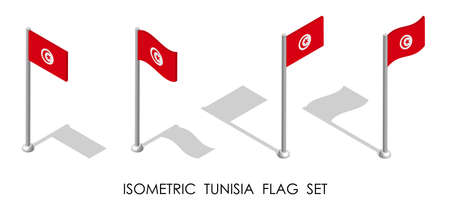 isometric flag of Republic of TUNISIA in static position and in motion on flagpole. 3d vector