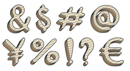 Additional keyboard symbols in cartoon style. And ampersand, dollar, hash symbol, number, yen, euro, percentage, exclamation and question mark. Isolated vector on white background