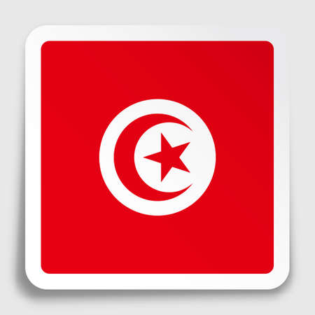 Republic of Tunisia flag icon on paper square sticker with shadow. Button for mobile application or web. Vector