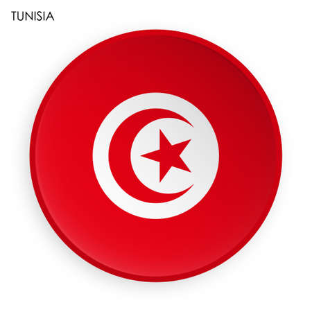 TUNISIA flag icon in modern neomorphism style. Button for mobile application or web. Vector on white background