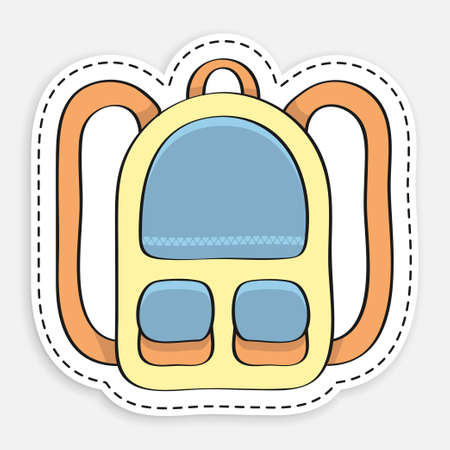 cartoon icon of doodle school backpack sticker in dotted stroke. September 1, beginning of school year. Student Accessories. Vector isolated on white background