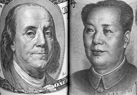 Macro portraits of Benjamin Franklin and Mao Tse-Tung in the US and China currencies respectively.
