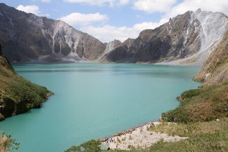 crater lake: The crater of Mt. Pinatubo in the Philippines Stock Photo
