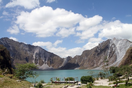 The crater of Mt. Pinatubo in the Philippines Stock Photo