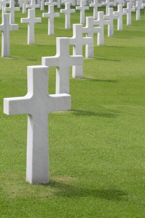 military cemetery: Marble crosses in an American Cemetery