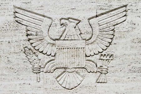 The Great Seal engraved on a concrete wall  photo