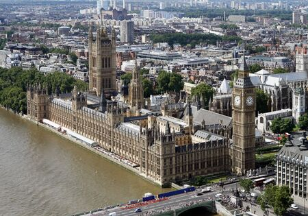 Aerial view of the Houses of Parliament in London photo