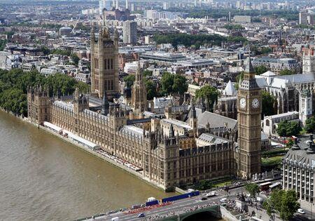 Luchtfoto van de Houses of Parliament in Londen Stockfoto - 11863373