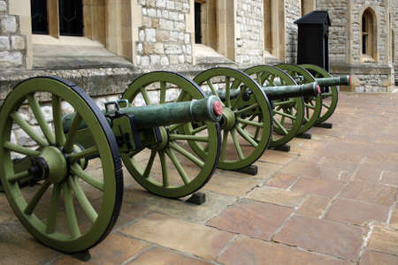 firepower: A row of cannons or field guns at the Tower of London
