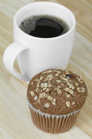 Oat bran muffin with coffee  photo
