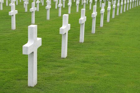 military cemetery: White marble crosses in an American military cemetery Stock Photo