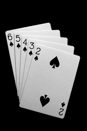 straight flush: Straight flush poker cards on black background  Stock Photo
