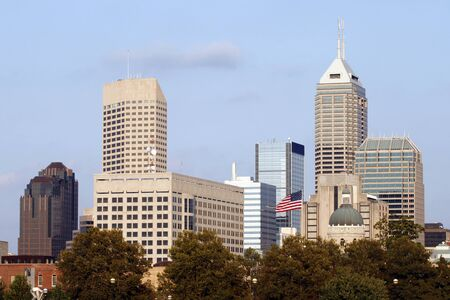 A near-sunset view of the Indianapolis skyline  photo