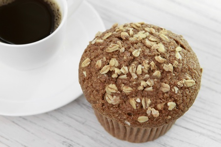 Oat bran muffin and coffee photo