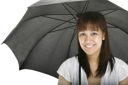 Young lady holding an umbrella photo