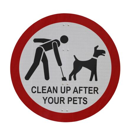 dog poop: Clean Up After Your Pets sign isolated on white background