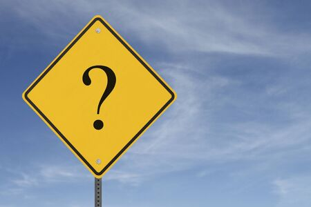 A warning sign with a question mark on a blue sky background Stock Photo - 12050843