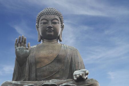 big buddha: The Tian Tan Buddha or Big Buddha in Hong Kong, China (with copy space) Stock Photo