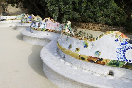 Colorful serpentine bench at Parc Guell in Barcelona, Spain  photo