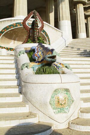 guell: Mosaic lizard at Parc Guell in Barcelona, Spain  Stock Photo