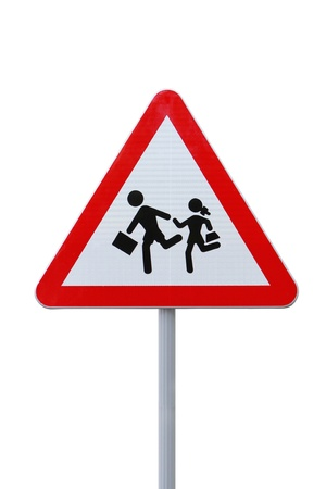 School children crossing sign on white photo