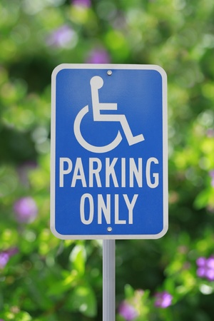 disabled parking sign: Handicap parking sign Stock Photo