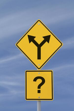 Conceptual road sign on decision making or uncertainty photo