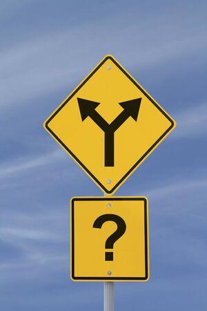 Conceptueel verkeersbord op de besluitvorming of onzekerheid Stockfoto - 13176170