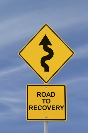 road to recovery: Conceptual road sign indicating a winding road to recovery  Stock Photo